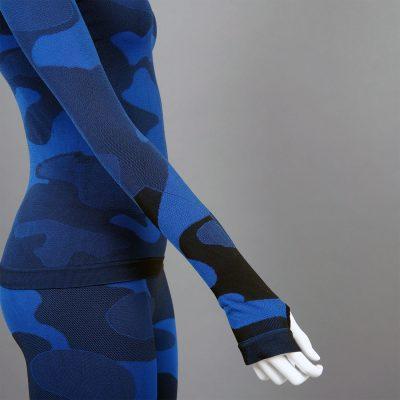 Дамска термо блуза с дълъг ръкав цвят тъмносин камуфлаж - снимка 4