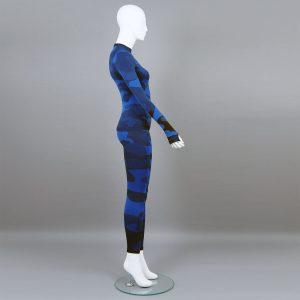 Термо комплект дамски цвят тъмносин камуфлаж - снимка 2