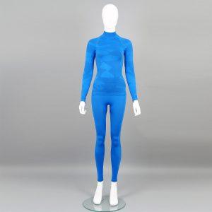 Дамски термо комплект с поло яка цвят син камуфлаж - снимка 1