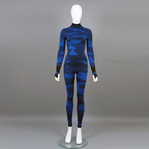 Дамски термо комплект с поло яка цвят тъмносин камуфлаж - снимка 1