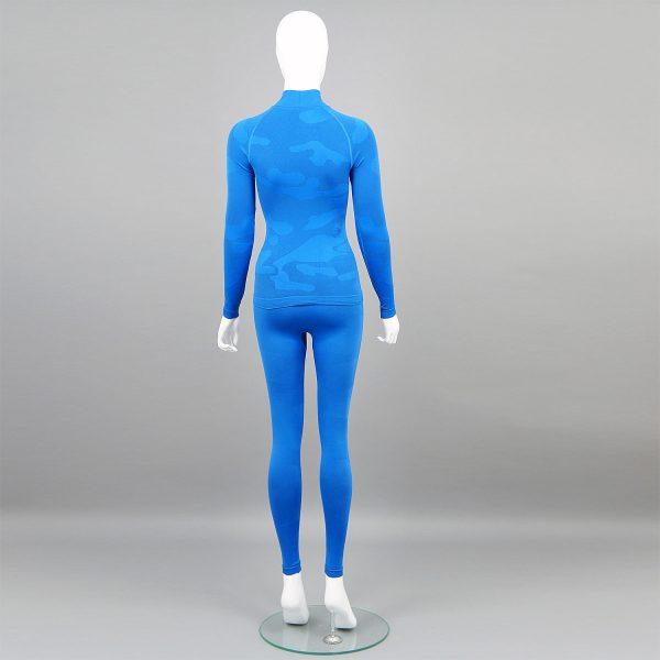 Дамски термо комплект с поло яка цвят син камуфлаж - снимка 2