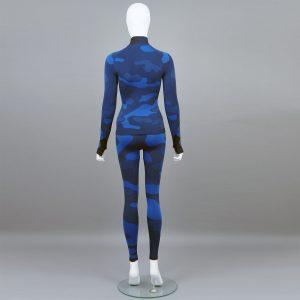 Дамски термо комплект с поло яка цвят тъмносин камуфлаж - снимка 2