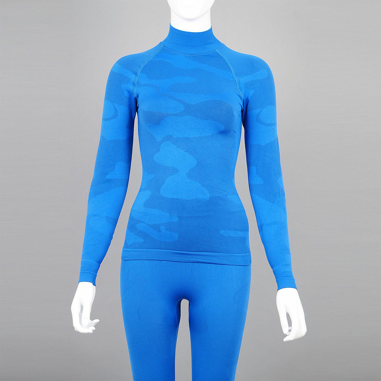 Дамски термо комплект с поло яка цвят син камуфлаж - снимка 3