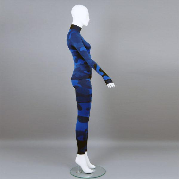 Дамски термо комплект с поло яка цвят тъмносин камуфлаж - снимка 3