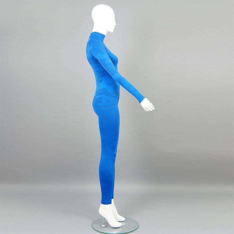 Дамски термо комплект с поло яка цвят син камуфлаж - снимка 4