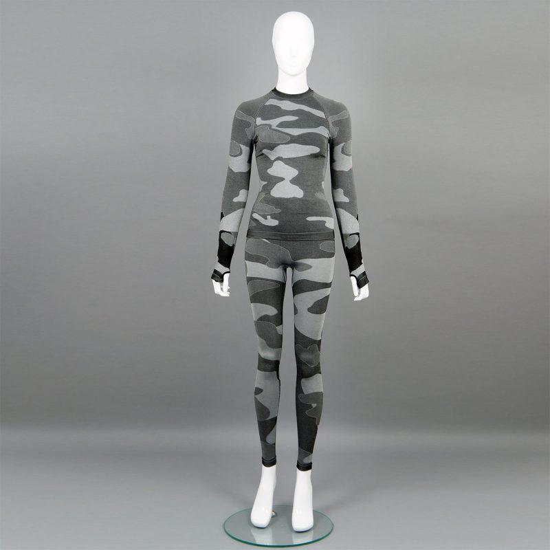 Термо комплект дамски цвят сив камуфлаж - снимка 1