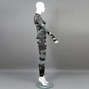 Термо комплект дамски цвят сив камуфлаж - снимка 2