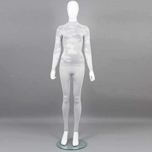 Дамски термо комплект с поло яка цвят светлосив камуфлаж - снимка 1