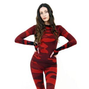 Дамска термо блуза с дълъг ръкав цвят червено комо - снимка 1