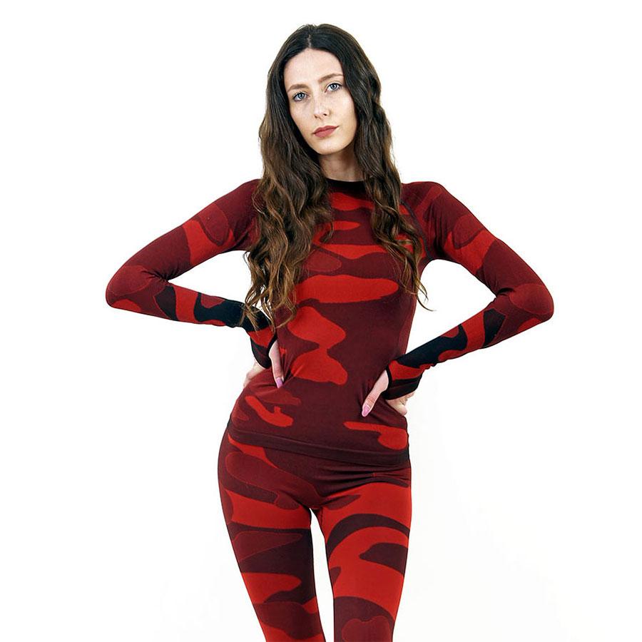 Дамска термо блуза с дълъг ръкав марка KSPORT цвят червено комо - снимка 1