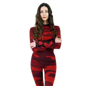 Дамска термо блуза с дълъг ръкав цвят червено комо - снимка 2