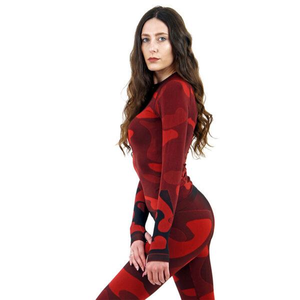 Дамска термо блуза с дълъг ръкав цвят червено комо - снимка 3