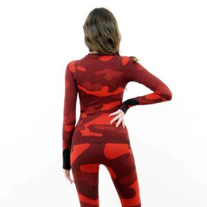 Дамска термо блуза с дълъг ръкав цвят червено комо - снимка 4