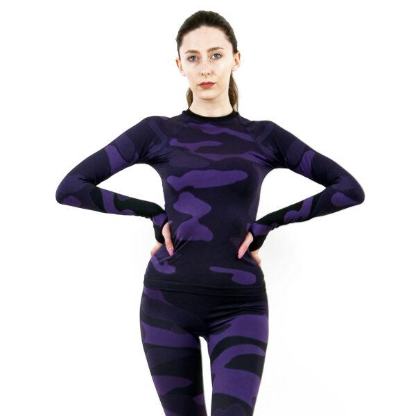 Дамска термо блуза с дълъг ръкав марка KSPORT цвят лилав камуфлаж - снимка 1