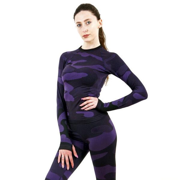 Дамска термо блуза с дълъг ръкав марка KSPORT цвят лилав камуфлаж - снимка 2