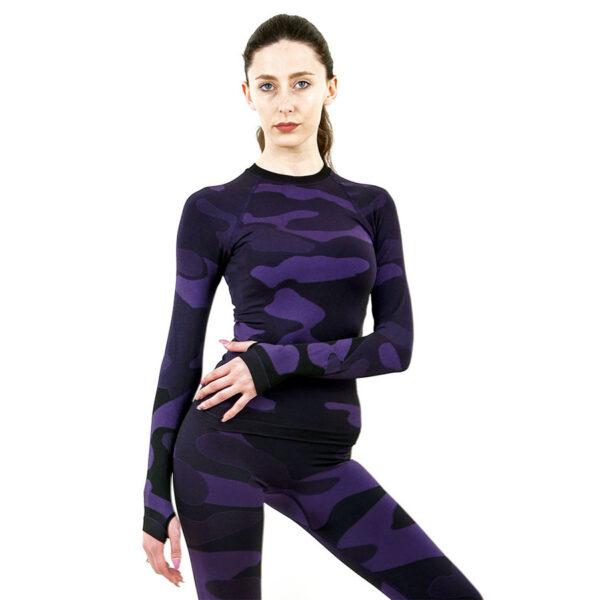Дамска термо блуза с дълъг ръкав марка KSPORT цвят лилав камуфлаж - снимка 3