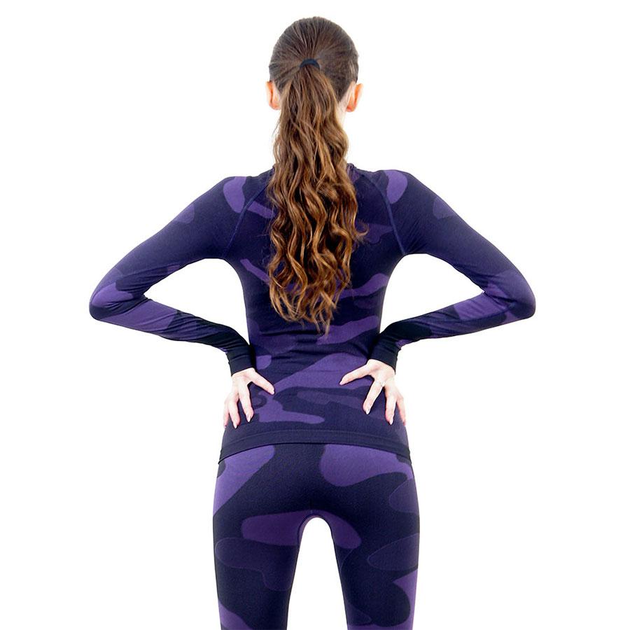 Дамска термо блуза с дълъг ръкав марка KSPORT цвят лилав камуфлаж - снимка 4