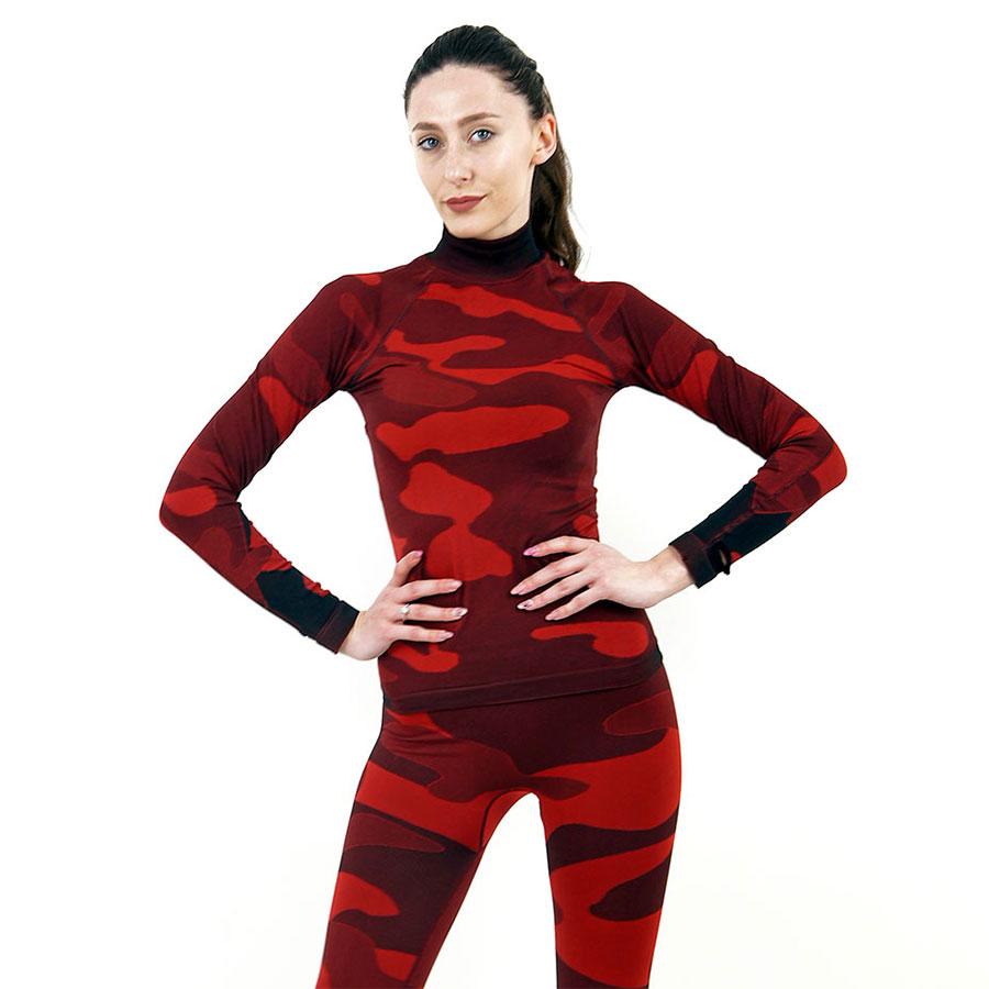 Дамска термо блуза с дълъг ръкав и поло яка марка KSPORT цвят червен камуфлаж - снимка 1