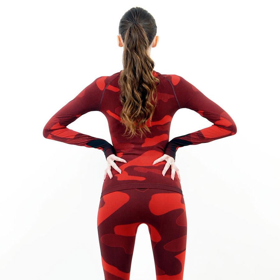 Дамска термо блуза с дълъг ръкав и поло яка марка KSPORT цвят червен камуфлаж - снимка 4