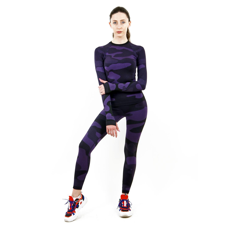 Термо клин дамски марка KSPORT цвят лилав камуфлаж - снимка 3