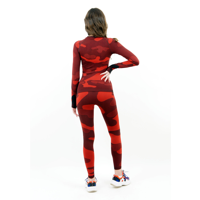 дамски термо комплект марка KSPORT цвят червен камуфлаж - снимка 4