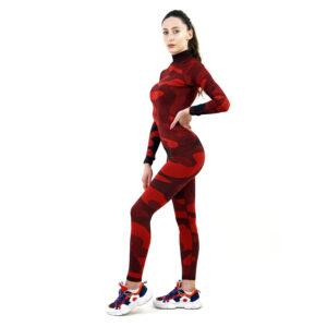дамски термо комплект с поло яка цвят червен камуфлаж - снимка 1