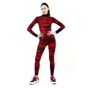дамски термо комплект с поло яка цвят червен камуфлаж - снимка 2