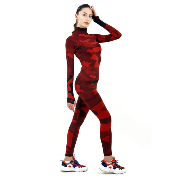 дамски термо комплект с поло яка марка KSPORT цвят червен камуфлаж - снимка 3