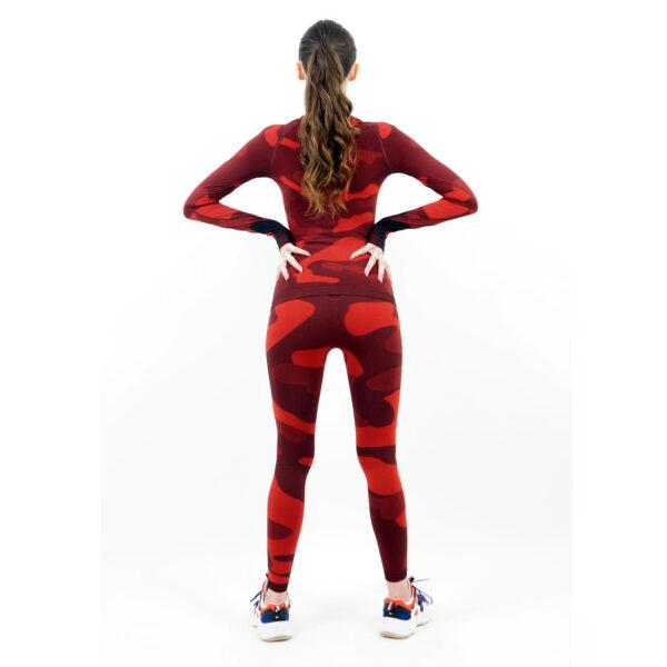дамски термо комплект с поло яка марка KSPORT цвят червен камуфлаж - снимка 4
