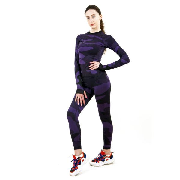 Термо комплект дамски в цвят лилав комуфлаж - снимка 1