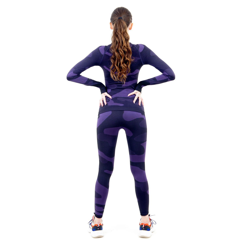 Термо комплект дамски марка KSPORT цвят лилав комуфлаж - снимка 4