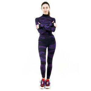 Термо комплект дамски с поло яка цвят лилав камуфлаж - снимка 1