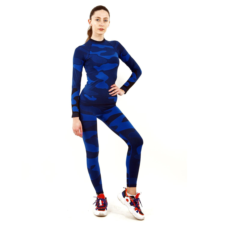 Термо комплект дамски марка KSPORT цвят тъмносин камуфлаж - снимка 1