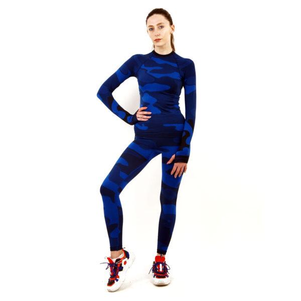 Термо комплект дамски марка KSPORT цвят тъмносин камуфлаж - снимка 2