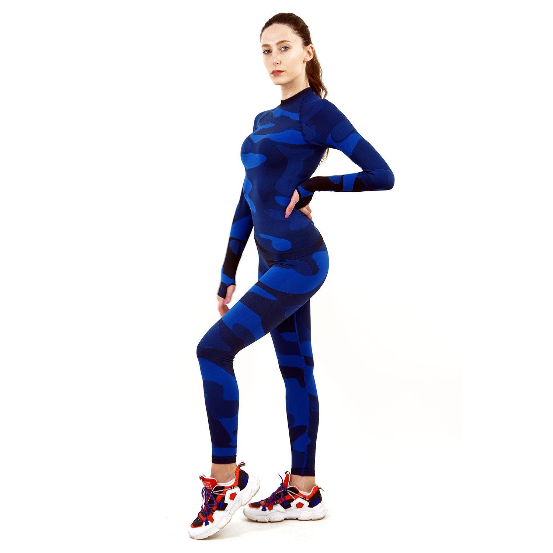 Термо комплект дамски марка KSPORT цвят тъмносин камуфлаж - снимка 3