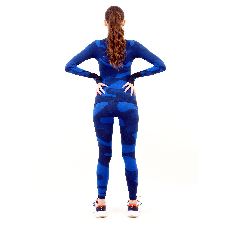 Термо комплект дамски марка KSPORT цвят тъмносин камуфлаж - снимка 4