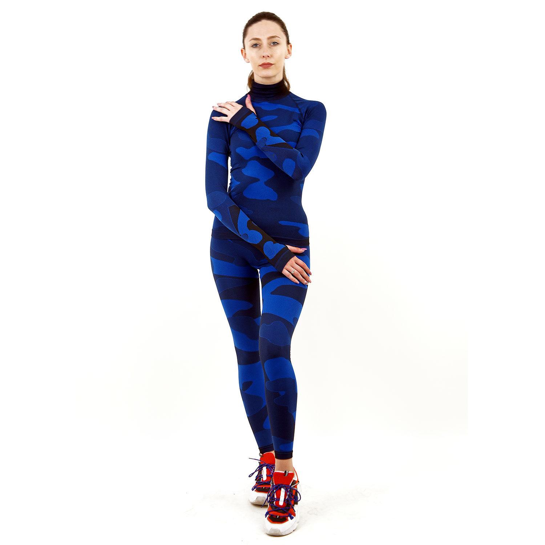 Термо комплект дамски с поло яка марка KSPORT цвят тъмносин камуфлаж - снимка 1