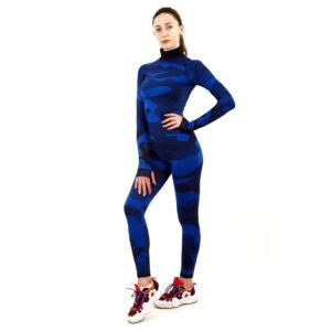 Термо комплект дамски с поло яка марка KSPORT цвят тъмносин камуфлаж - снимка 2