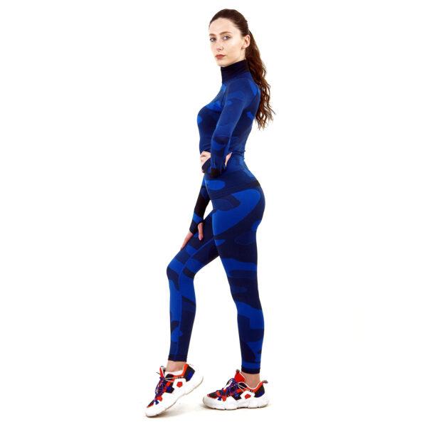 Термо комплект дамски с поло яка марка KSPORT цвят тъмносин камуфлаж - снимка 3