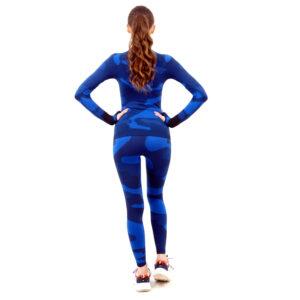 Термо комплект дамски с поло яка марка KSPORT цвят тъмносин камуфлаж - снимка 4
