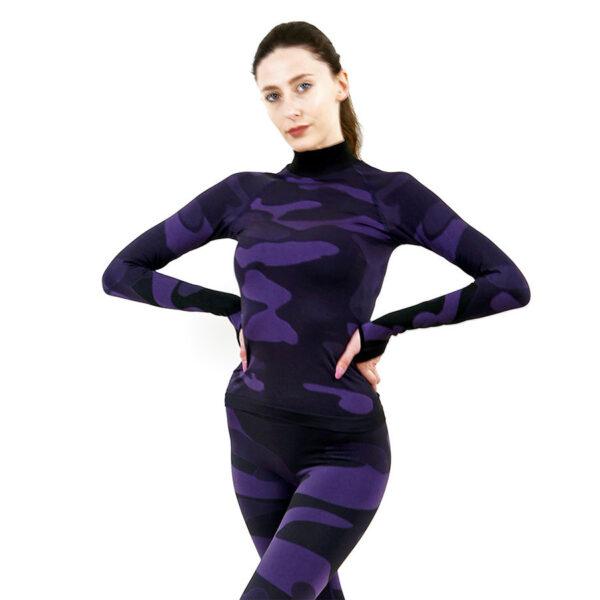 Дамска термо блуза с дълъг ръкав и поло яка марка KSPORT цвят лилав камуфлаж - снимка 1