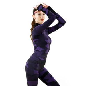 Дамска термо блуза с дълъг ръкав и поло яка марка KSPORT цвят лилав камуфлаж - снимка 2