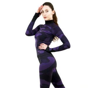 Дамска термо блуза с дълъг ръкав и поло яка марка KSPORT цвят лилав камуфлаж - снимка 3