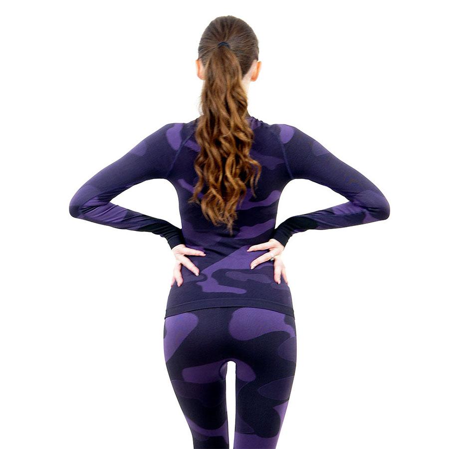 Дамска термо блуза с дълъг ръкав и поло яка марка KSPORT цвят лилав камуфлаж - снимка 4