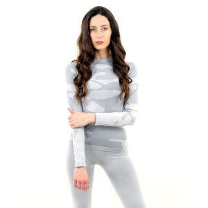Дамска термо блуза с дълъг ръкав цвят светлосив камуфлаж - снимка 2