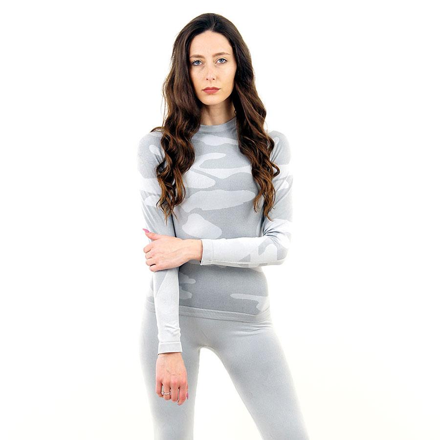Дамска термо блуза с дълъг ръкав марка KSPORT цвят светлосив камуфлаж - снимка 2