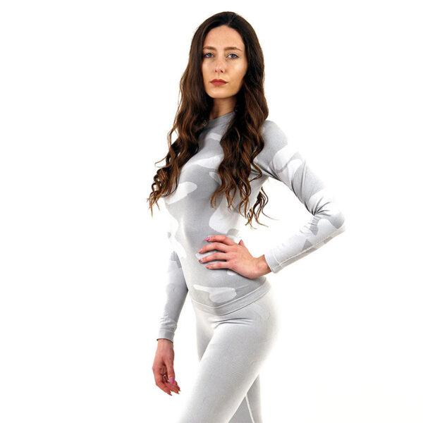 Дамска термо блуза с дълъг ръкав марка KSPORT цвят светлосив камуфлаж - снимка 3