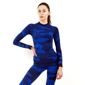 Дамска термо блуза с дълъг ръкав цвят тъмносин камуфлаж - снимка 1