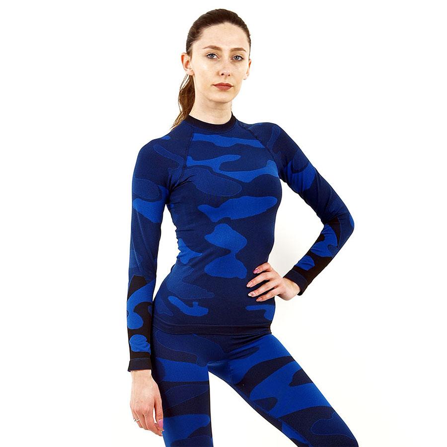 Дамска термо блуза с дълъг ръкав марка KSPORT цвят тъмносин камуфлаж - снимка 2