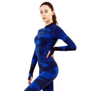 Дамска термо блуза с дълъг ръкав марка KSPORT цвят тъмносин камуфлаж - снимка 3